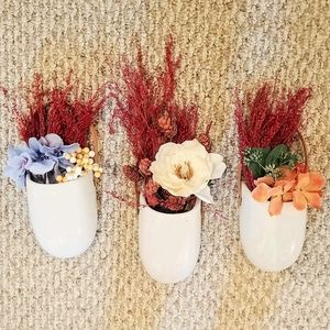 Ceramic Set of 3 Wall Fall Autumn Floral Planters
